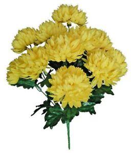 "12-4"" Yellow Chrysanthemum 20"" Bush Artificial Silk Flower Home Decor Craft US"