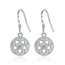 925 Sterling Silver Zirconia Lotus Drop Dangle Hook Earrings Women Jewelry Gifts