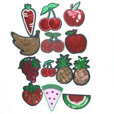Fruit Strawberry Banana Pineapple Cherry Apple Carrot Sequin Iron /Sew on motifs