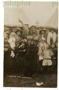 """POSTCARD SOLDIER DRESSED AS SUFFRAGETTE  """" VOTES FOR WOMEN """" BORDON REAL PHOTO"""