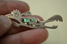 Pin / Brooch w/ Inlaid Abalone Vintage Fleming Sterling Silver Roadrunner Lapel