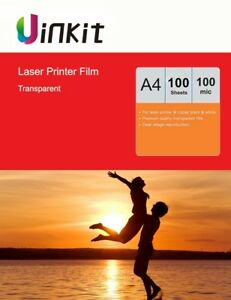 A4 Overhead Projector Film OHP Film Clear for Laser Printer Uinkit - 100 Sheets