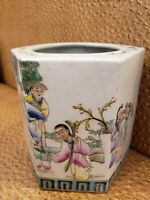 Chinese Famille Rose Porcelain  Hexagon Vase 8""