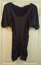 Charlotte Russe M Shirt Blouse Top Stretch Ruched Black Slimming Career USA A3