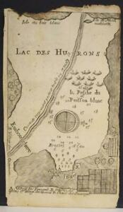 LAKE HURON MICHIGAN UNITED STATES & ONTARIO CANADA 1703 DE LAHONTAN ANTIQUE MAP