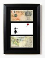 TWO FRAMED & MOUNTED DI FACED TENNERS £10 NOTE BANKSY BALLOON GIRL PRESENTATION