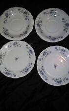 4 pcsTraditions Fine China for John Haviland Saucer and Desert White Blue Flower