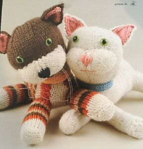 """Printed Knitting Pattern For Two Different  CATS Kittens Animal Toy 13"""""""