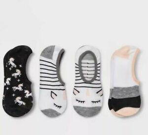 Xhilaration Women's Unicorn Liner Socks One Size White Black Peach 3pk