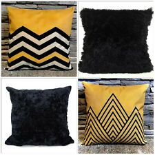 "Cushion cover or Filled cushion linen effect designs Mustard black fur 17""x 17"""