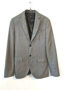 H & M grey men's slim fit blazer fully lined 36R Linen texture