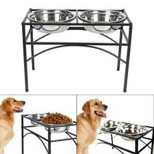 """Double Pet Dish Durable Stainless Steel Dog Feeder Stand Fit bowl 8.3""""Dx2.8""""H"""