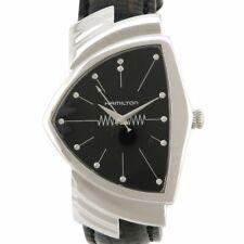 Auth HAMILTON VENTURA H244110 Quartz analog watch buckle Black Silver cz118