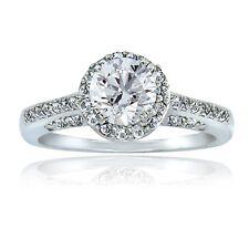 925 Silver 2ct White Topaz Round Ring, Size 7