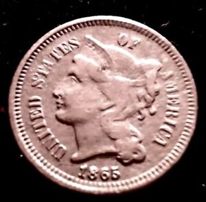 1865 Three 3 Cent Nickel Piece Details!
