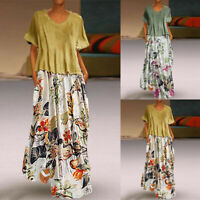 Women Vintage Print Patchwork O-Neck 2-Pieces Dress Plus Size Pockets Maxi Dress