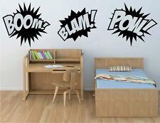 Boom Pow Blam Comic Book Sounds Vinyl Sticker Decal for Kids Superhero wall