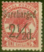 Samoa 1898 2 1/2d on 1s Dull Rose-Carmine SG86 Fine Mtd Mint (11)