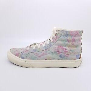 VANS Sk8-Hi Shoe Women's 9 Blue Floral Sneaker High Top Lace Up Skateboarding