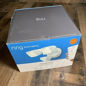 Ring Smart Lighting Outdoor Motion Sensor Security Wired Floodlight. White