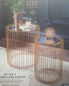 Set Of 2 Round Cage Table With Mirror Top Coffee Table Side Table Living Room UK