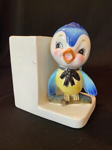 Vtg Anthropomorphic Bluebird Figurine Vase Bookend Lefton Norcrest Japan