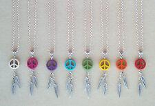 "Various Colours Stone Peace Dreamcatcher Silver 18"" Chain Necklace ~ Gift Bag"