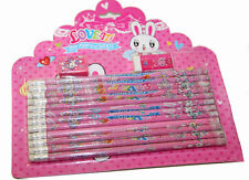 Coffret Cadeaux Kit de 12 Crayons à Papier Gomme Taille Crayons Fille Garçon Ros