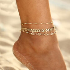 HK- 3Pcs Golden Tone Faux Fish Bone Anklet Multi-layer Beach Ankle Bracelet Util