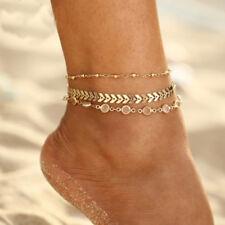 EG_ HK- 3Pcs Golden Tone Faux Fish Bone Anklet Multi-layer Beach Ankle Bracelet