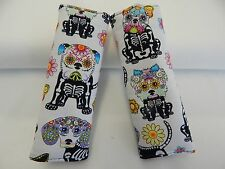 Padded Baby Car Seat Belt Strap Covers Highchair Stroller Pram Sugar Skull Dogs