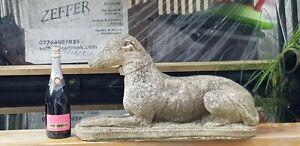 A ( LIFE SIZE ) CONCRETE WHIPPET GARDEN STATUE/SCULPTURE DOG ORNAMENT ON BASE