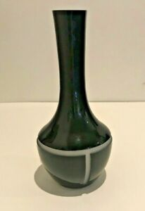 New CALVIN KLEIN HOME Modern Black & White Art Glass Bud Vase