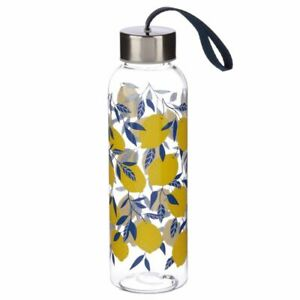 NEW Yellow Citrus Lemons Reusable Water Bottle w/ Metallic Lid BPA Free Plastic