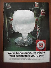 1967 VTG Orig Magazine Ad 7 Up Soda Wet For Thirst Wild Because You're You
