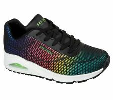 Skechers Street NEW Uno Eye Catching black rainbow memory foam air trainers 3-8