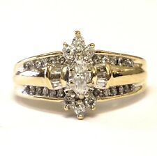 14k yellow gold .53ct SI2 H marquise diamond engagement ring 6.8g estate