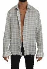 ERMANNO SCERVINO Shirt Cotton Gray Checkered Long Sleeve Casual Top