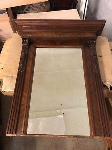 großer antiker Spiegel in massivem Holzrahmen 100 x 70cm