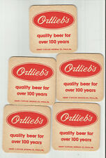 """Lot of 5 Ortlieb's Beer -Philadelphia, PA 3 1/2"""" """"Quality For over 100 years"""