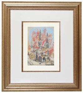 Maurice Utrillo Eglise Hand Painted Pochoir Lithograph Ed 1/500 COA Signed 1929