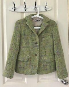 Jil Sander Green Blazer Jacket Wool Tweed Boucle Size 36/AU 8
