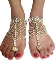 Bollywood Indian Bridal Wedding Gold Pt Kundan Pearl CZ Anklet Payal Belly Dance