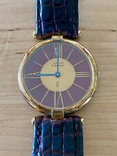 Cartier Must de Paris Vermeil Quartz 925 24mm Burgundy Watch
