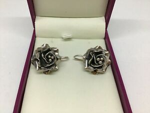 Vintage MEXICO Taxco Sterling Silver Floral EARRINGS 12grams TC-160 Fabulous