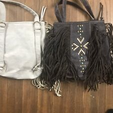Union Bay Leather Fringe Native American Convertible Bag Crossbody Backpack