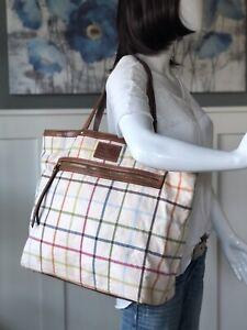 COACH TATTERSALL PLAID Bleecker Large Shoulder Shopper Tote Purse Bag 11481
