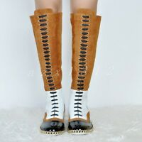 Women's Leather Multi Color Lace Up Round Toe Knee High Boots Ladies Shoes Size