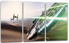 3-teilig Lein-Wand-Bild: Star Wars Millennium Falcon Tie Fighter (kein Poster)
