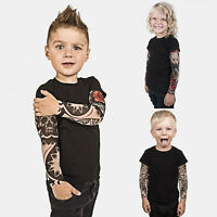 Toddler Kids Baby Boys Girls Tattoo Print Long Sleeve T-shirt Tops Tees Clothes